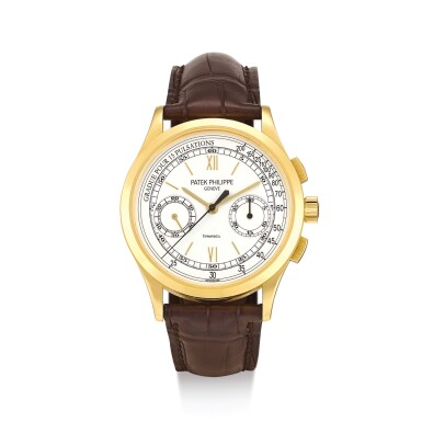 """View 1. Thumbnail of Lot 2070. PATEK PHILIPPE     REFERENCE 5170  A YELLOW GOLD CHRONOGRAPH WRISTWATCH WITH PULSATION SCALE, RETAILED BY TIFFANY & CO., MADE IN 2010""""   百達翡麗   型號5170 黃金計時腕錶,備脈搏計刻度,由蒂芙尼發行,機芯編號5532742,錶殼編號4517335,2010年製""""."""