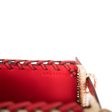 View 9. Thumbnail of Lot 184. Hermès Rare Rouge De Coeur Mini Kelly Picnic Bag of Osier Wicker and Swift Leather.