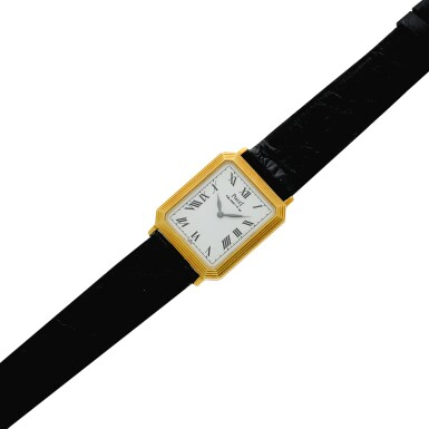 View 6. Thumbnail of Lot 138. Reference 7142 A yellow gold rectangular shaped wristwatch with ridged bezel, Circa 1975.