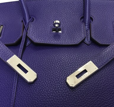 View 8. Thumbnail of Lot 717. HERMÈS | ULTRAVIOLET BIRKIN 35 IN TAURILLON CLEMENCE LEATHER WITH PALLADIUM HARDWARE, 2010.