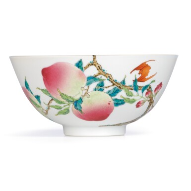 View 1. Thumbnail of Lot 3622. AN EXTREMELYFINE AND RARE FAMILLE-ROSE 'PEACH' BOWL MARK AND PERIOD OF YONGZHENG | 清雍正 粉彩過枝福壽雙全盌 《大清雍正年製》款.