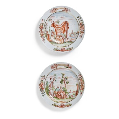 TWO MEISSEN HAUSMALER PLATES THE PORCELAIN CIRCA 1730, THE DECORATION CIRCA 1750