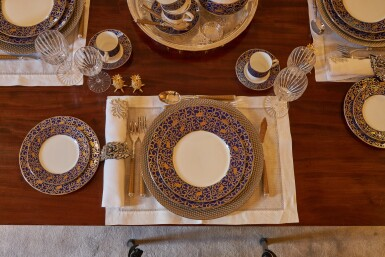 View 11. Thumbnail of Lot 44. An early 19th C Mahogany Dining Table by Gillow & Co. with a set of 12 carved Dining Chairs in the Chippendale Style, and a Thomas Goode 'Stewart' bone china part dinner and dessert service, and an original antique glass from the Thomas Goode archive, various dates.