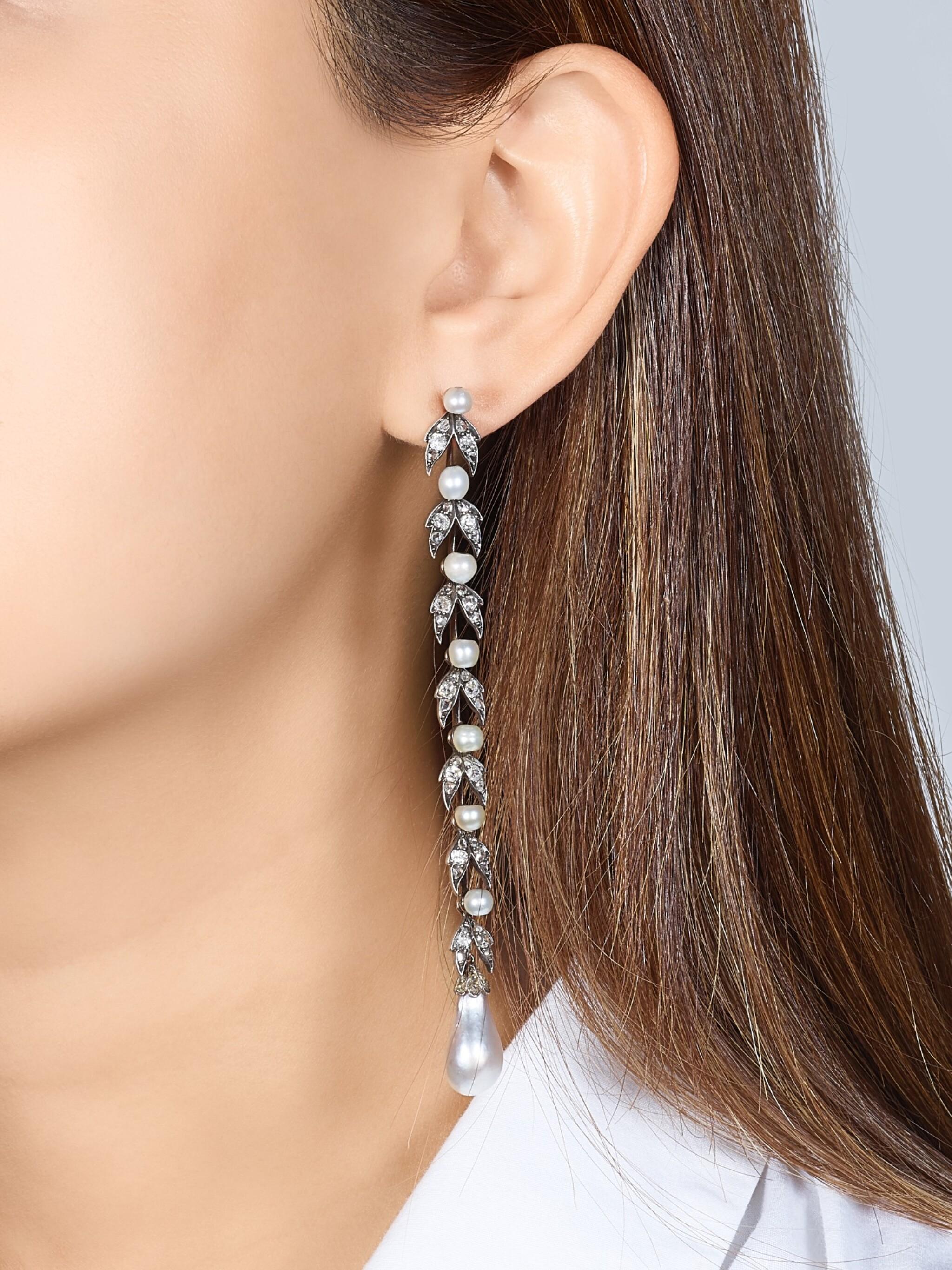View full screen - View 1 of Lot 9015. Natural Pearl and Diamond Earrings, 19th Century |  天然海水珍珠 配 鑽石 耳墜一對, 19世紀.