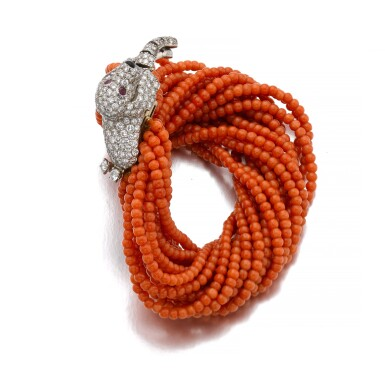 View 2. Thumbnail of Lot 58. CARTIER | CORAL AND DIAMOND BRACELET, 1960S.