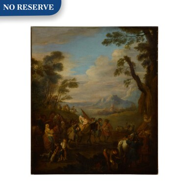 View 1. Thumbnail of Lot 81. A group of soldiers traveling through the country.