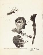 PABLO PICASSO   TÊTE AVEC PLUME ET TARLATANE (BA. 572BIS)