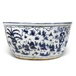 A very large blue and white 'boys' fishbowl, Mark and period of Jiajing | 明嘉靖 青花嬰戲圖大缸 《大明嘉靖年製》款