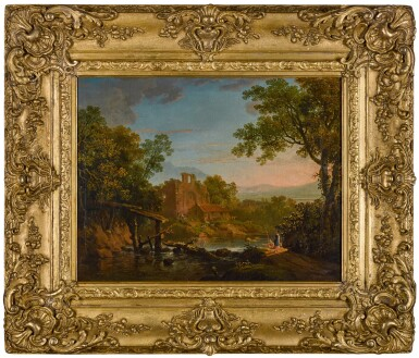 View 2. Thumbnail of Lot 197. A classical landscape with figures in the foreground, ruins and mountains beyond.