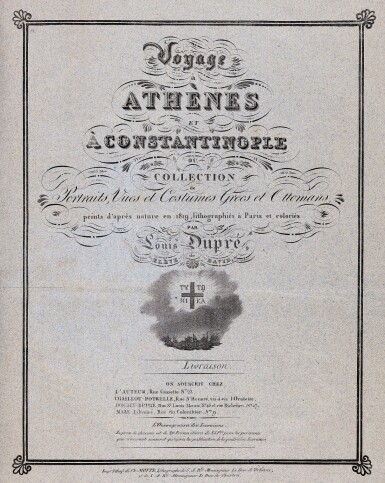 View 4. Thumbnail of Lot 47. Dupre. Voyage a Athenes et a Constantinople. Paris, 1825. folio, colour plates, twentieth-century blue half morocco gilt.