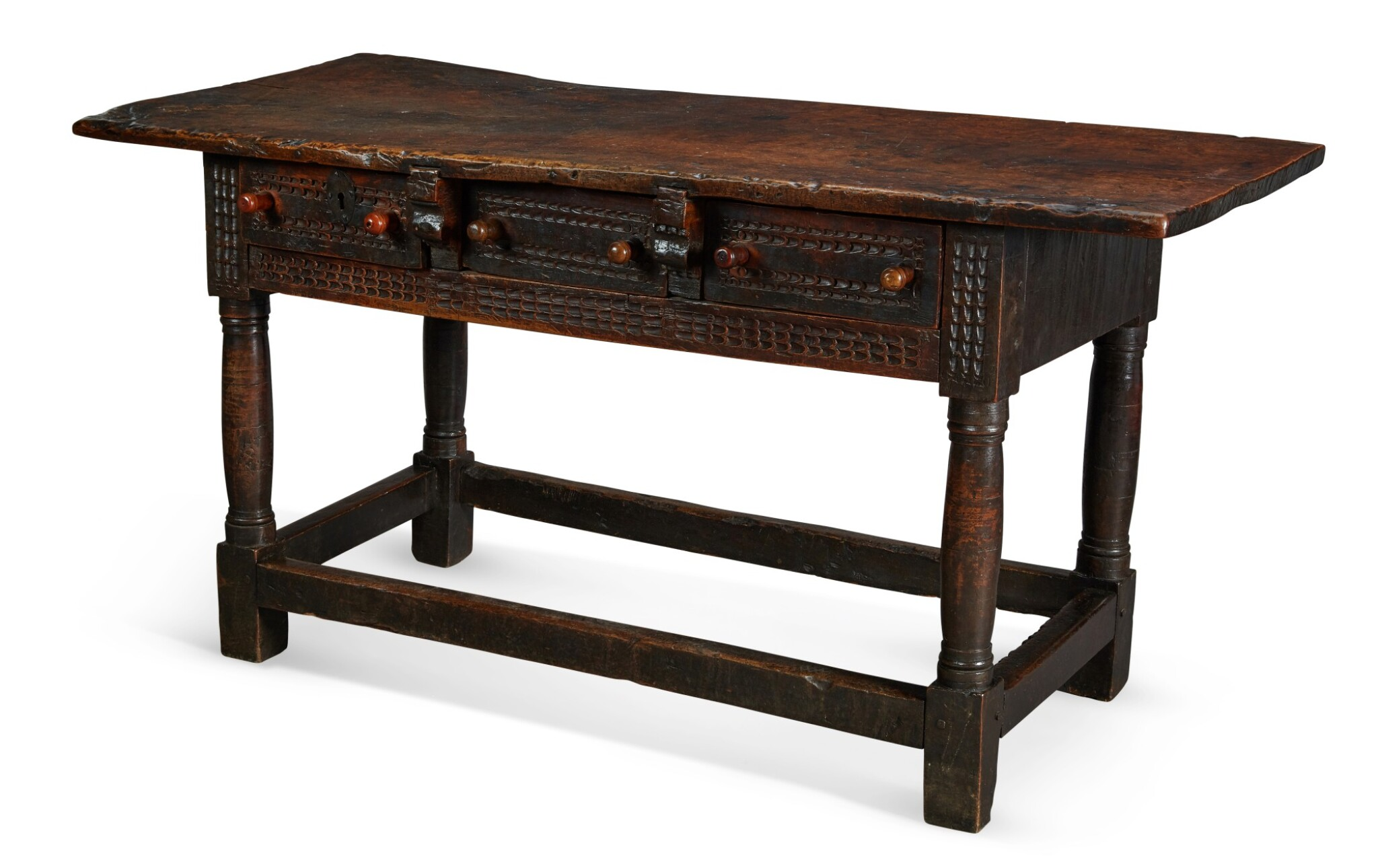 View full screen - View 1 of Lot 32. A SPANISH CARVED WALNUT SIDE TABLE, 17th CENTURY.