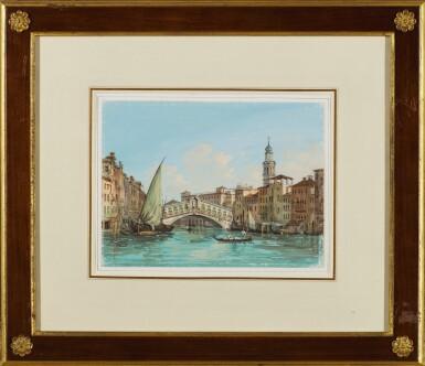 View 2. Thumbnail of Lot 539. CARLO GRUBACS | View of the Rialto Bridge, Venice.
