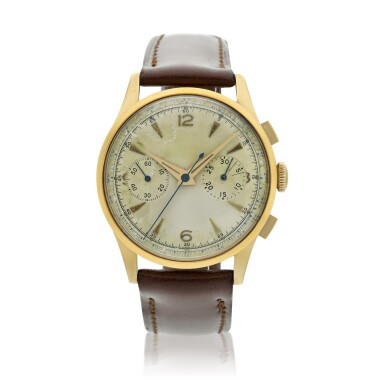 View 1. Thumbnail of Lot 116. Reference 2635  A large yellow gold chronograph wristwatch, Circa 1965 .
