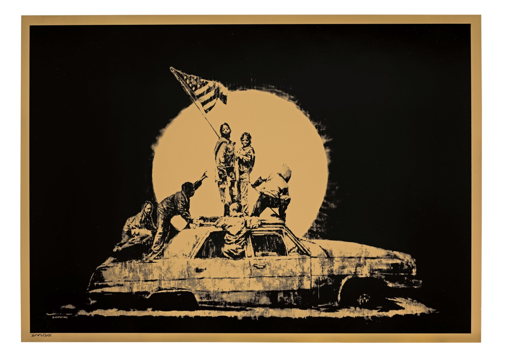 View full screen - View 1 of Lot 624. Banksy 班克斯 | Gold Flag 金色旗幟.