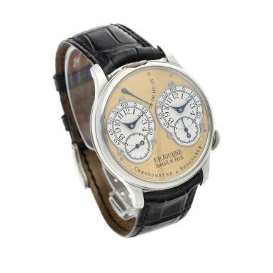 View 4. Thumbnail of Lot 422. Chronomètre à Résonance  A platinum dual time wristwatch with power reserve indication and brass movement, Circa 2002 .
