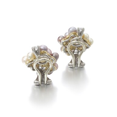 View 3. Thumbnail of Lot 1167. Pair of cultured pearl and diamond ear clips.