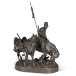 Zaporozhian Cossack after Battle: A bronze figural group, cast by Chopin, after the model by Evgeny Lansere (1848-1886)