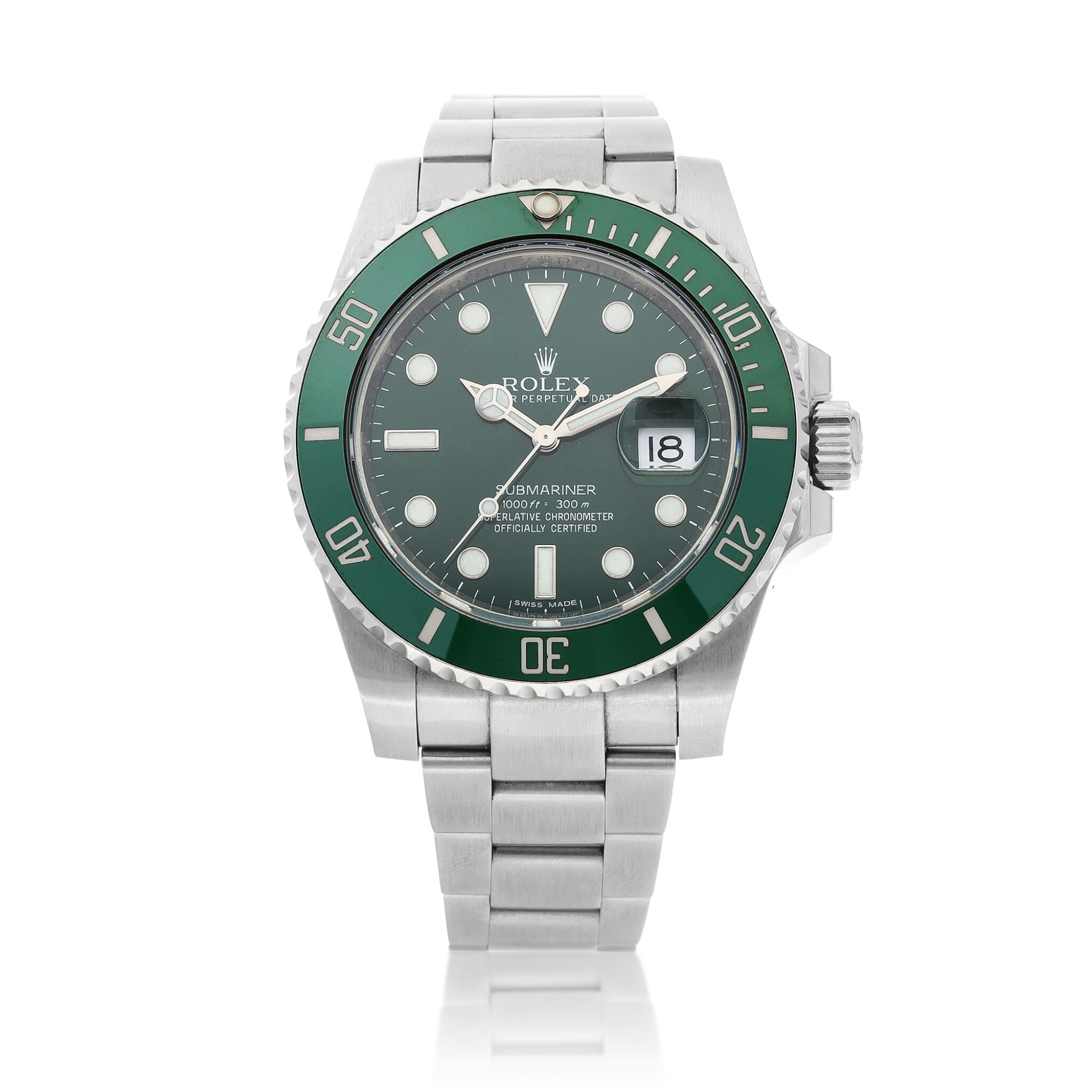 View full screen - View 1 of Lot 406. 'Hulk' Submariner, Ref. 116610LV Stainless steel wristwatch with date and bracelet Circa 2010 | 勞力士 116610LV型號「'Hulk' Submariner」精鋼鍊帶腕錶備日期顯示,年份約2010.