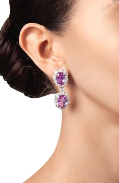 View 2. Thumbnail of Lot 402. PAIR OF PINK SAPPHIRE AND DIAMOND PENDANT-EARCLIPS | 粉紅色剛玉配鑽石吊耳環一對.