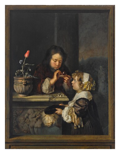 View full screen - View 1 of Lot 10. CASPAR NETSCHER | A YOUNG BOY AND GIRL BLOWING BUBBLES.