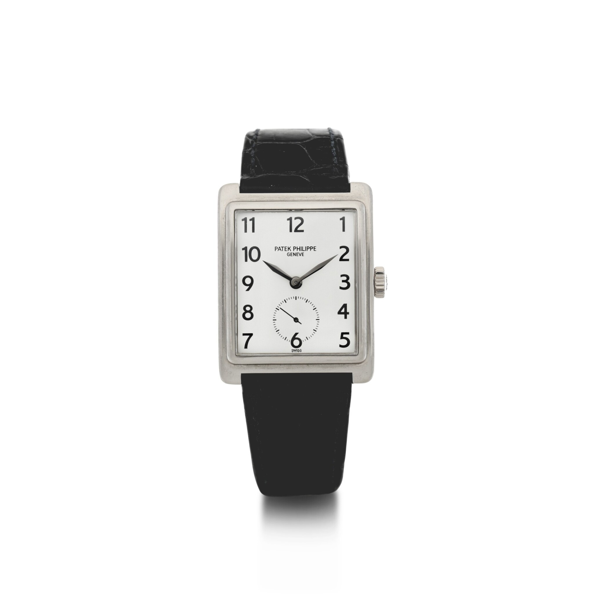 View full screen - View 1 of Lot 160. PATEK PHILIPPE | REFERENCE 5010-012  A WHITE GOLD RECTANGULAR WRISTWATCH, MADE IN 2001.