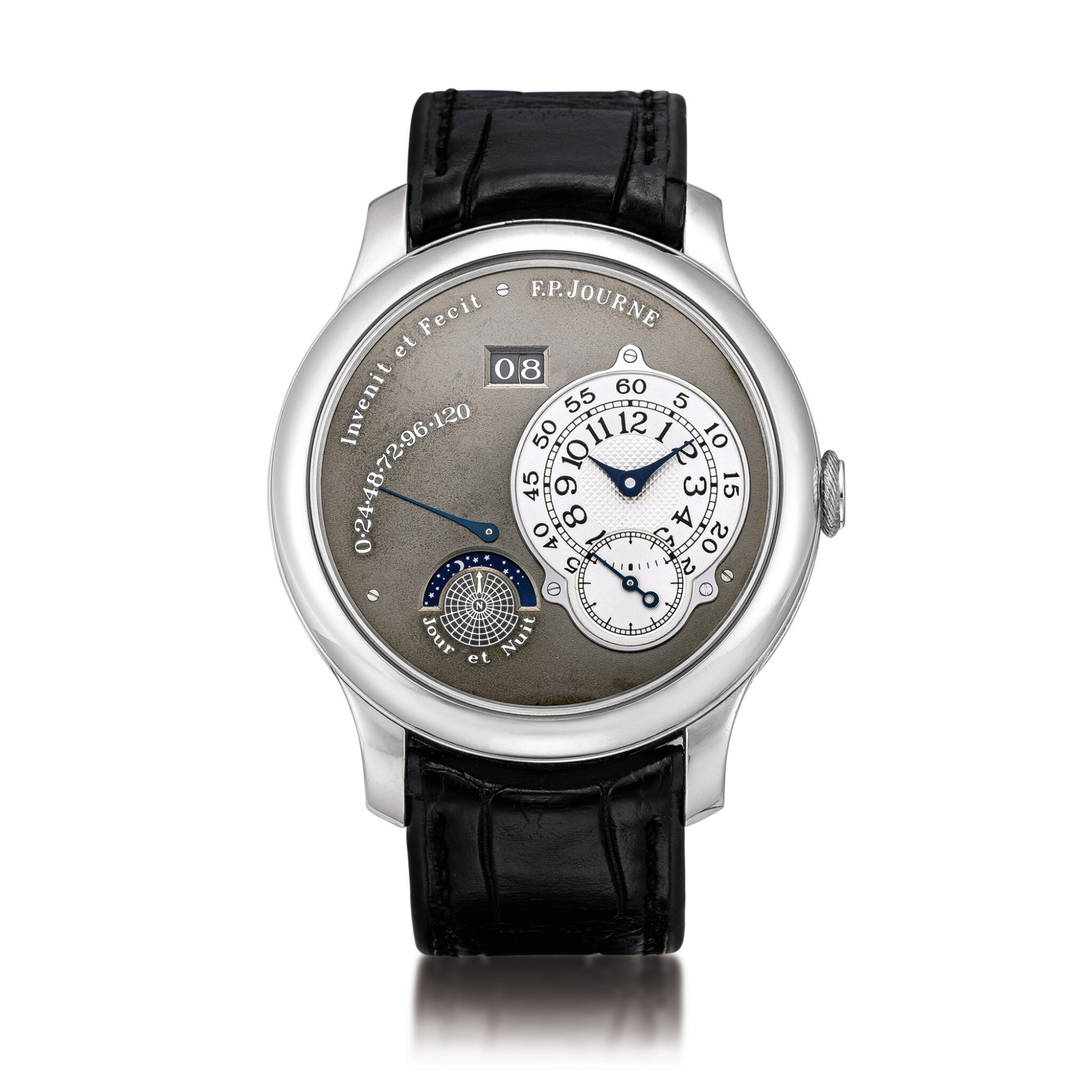 View full screen - View 1 of Lot 2218. F.P. Journe | Octa Jour et Nuit, A limited edition platinum wristwatch with ruthenium dial, ruthenium-coated brass movement, date, power reserve and day and night indication, Circa 2003 | Octa Jour et Nuit  限量版鉑金腕錶,備釕金屬錶盤、釕金屬塗層銅製機芯、日期、動力儲備及晝夜顯示,約2003年製.