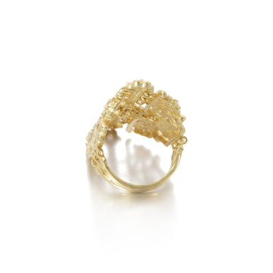 View 3. Thumbnail of Lot 112. Gold and diamond ring.