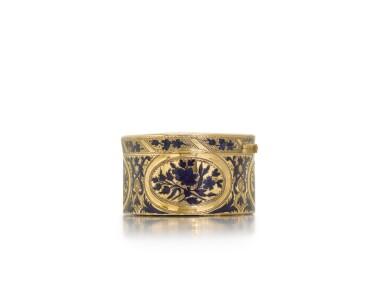 View 3. Thumbnail of Lot 316. A gold and enamel snuff box, probably Hanau, circa 1775.