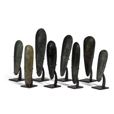 View 4. Thumbnail of Lot 80. Papua New Guinea, Lake Sentani, late 19th/early 20th century | Eight Adze Ceremonial Blades (Obligation Stones).