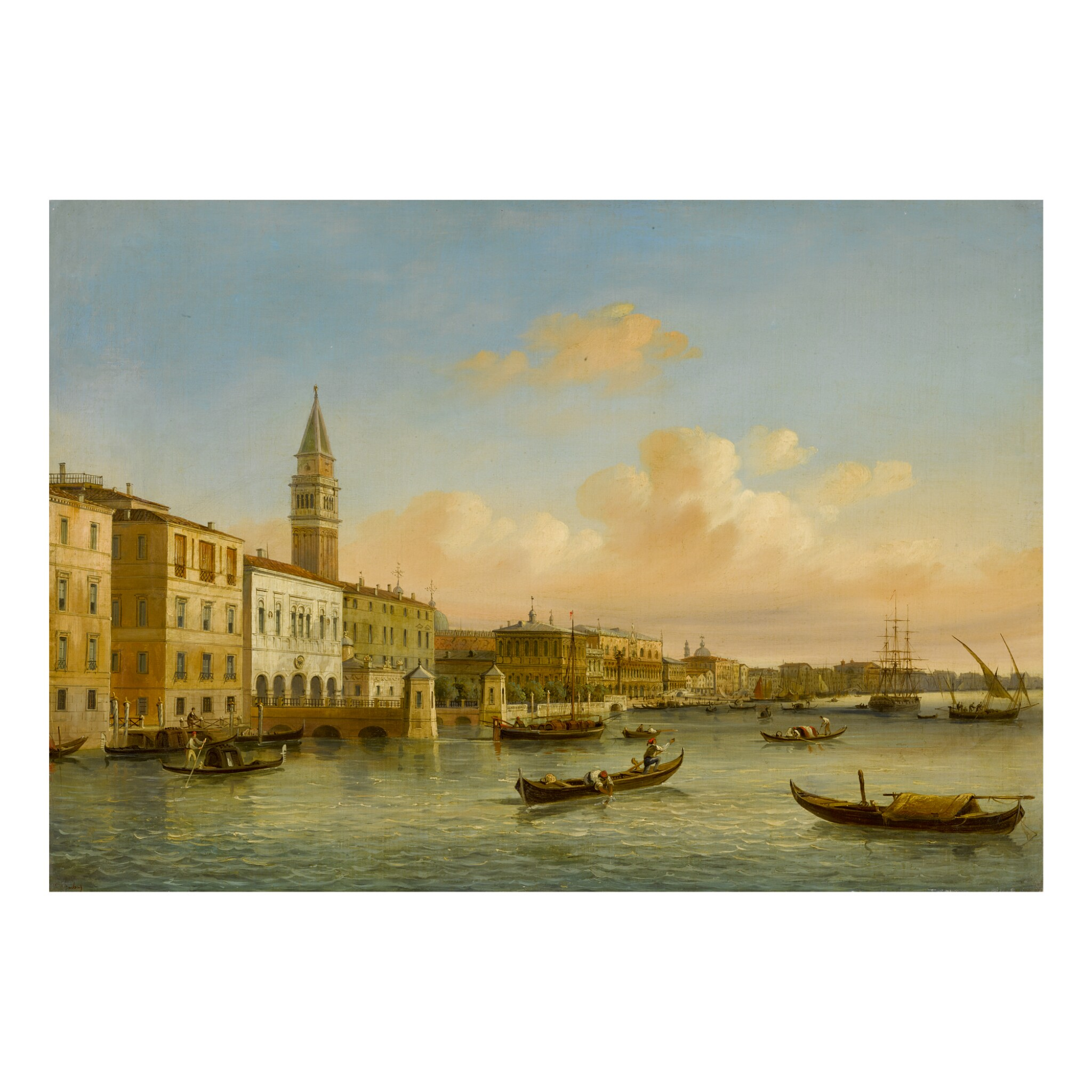 View full screen - View 1 of Lot 122. CARLO GRUBACS | VENICE, A VIEW OF THE MOLO.