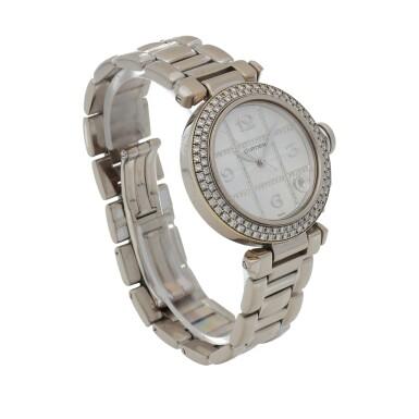 View 3. Thumbnail of Lot 472. Pasha, Ref. 2308 White gold and diamond-set wristwatch with date and bracelet Circa 2000   卡地亞 2308型號「Pasha」白金鑲鑽石鍊帶腕錶備日期顯示,年份約2000.