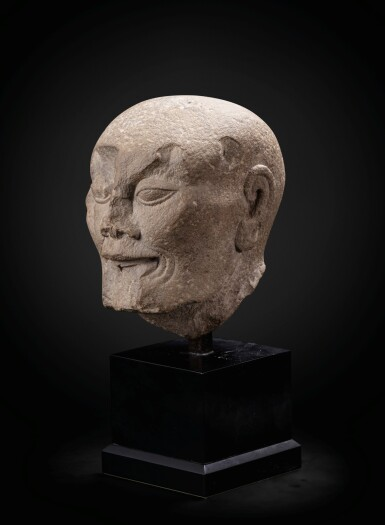 View 2. Thumbnail of Lot 195. A carved limestone head of a fasting Luohan Song dynasty   宋 石灰石雕羅漢首像.