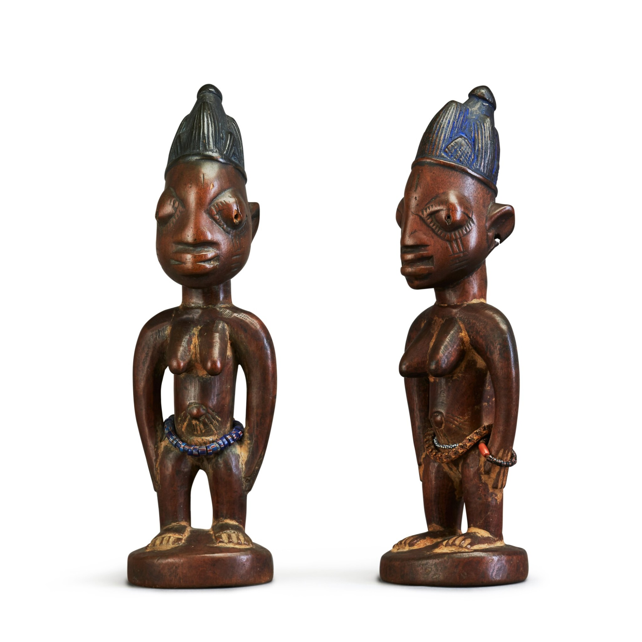 View full screen - View 1 of Lot 151. Nigeria, Yoruba Peoples, circa 1900   Ere Ibeji Figures.