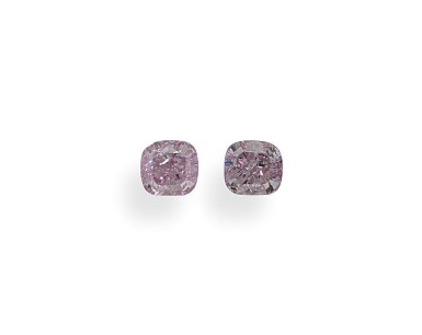 A Pair of 0.20 Carat Fancy Intense Purplish Pink Cushion-Cut Diamonds