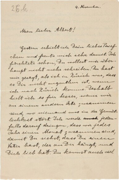 View 1. Thumbnail of Lot 19. Albert Einstein   Autograph letter signed, to his son Albert, 4 November [1915].