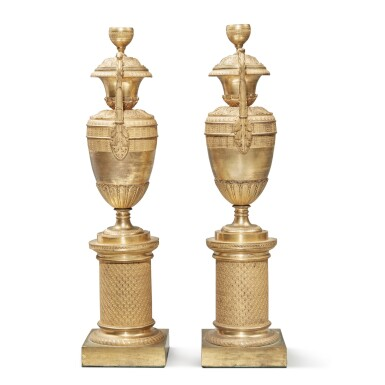 View 5. Thumbnail of Lot 102. A Pair of Restauration Gilt Bronze Vases, 19th Century.