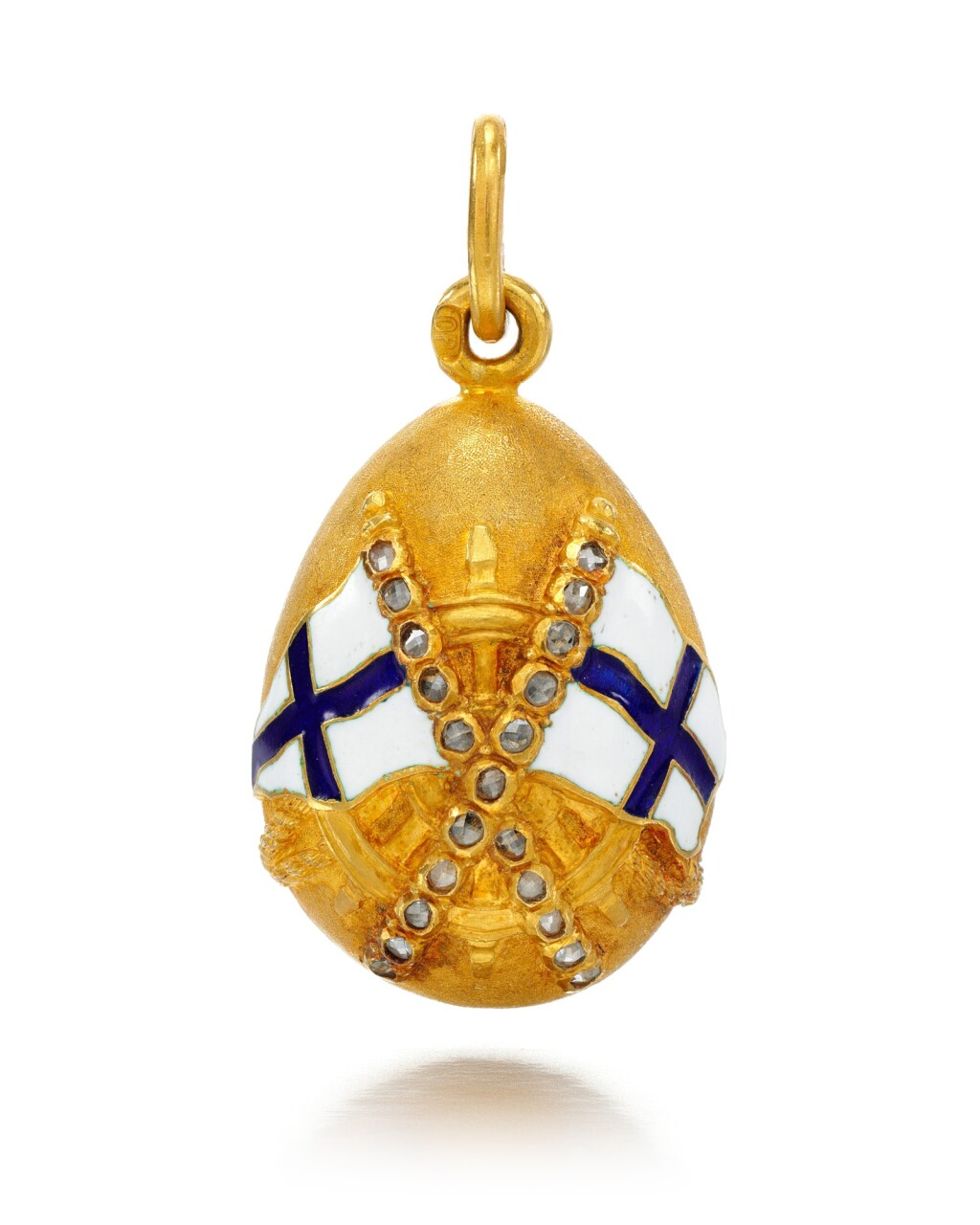 A JEWELLED GOLD AND GUILLOCHÉ ENAMEL EGG PENDANT, POSSIBLY FABERGÉ, ST PETERSBURG