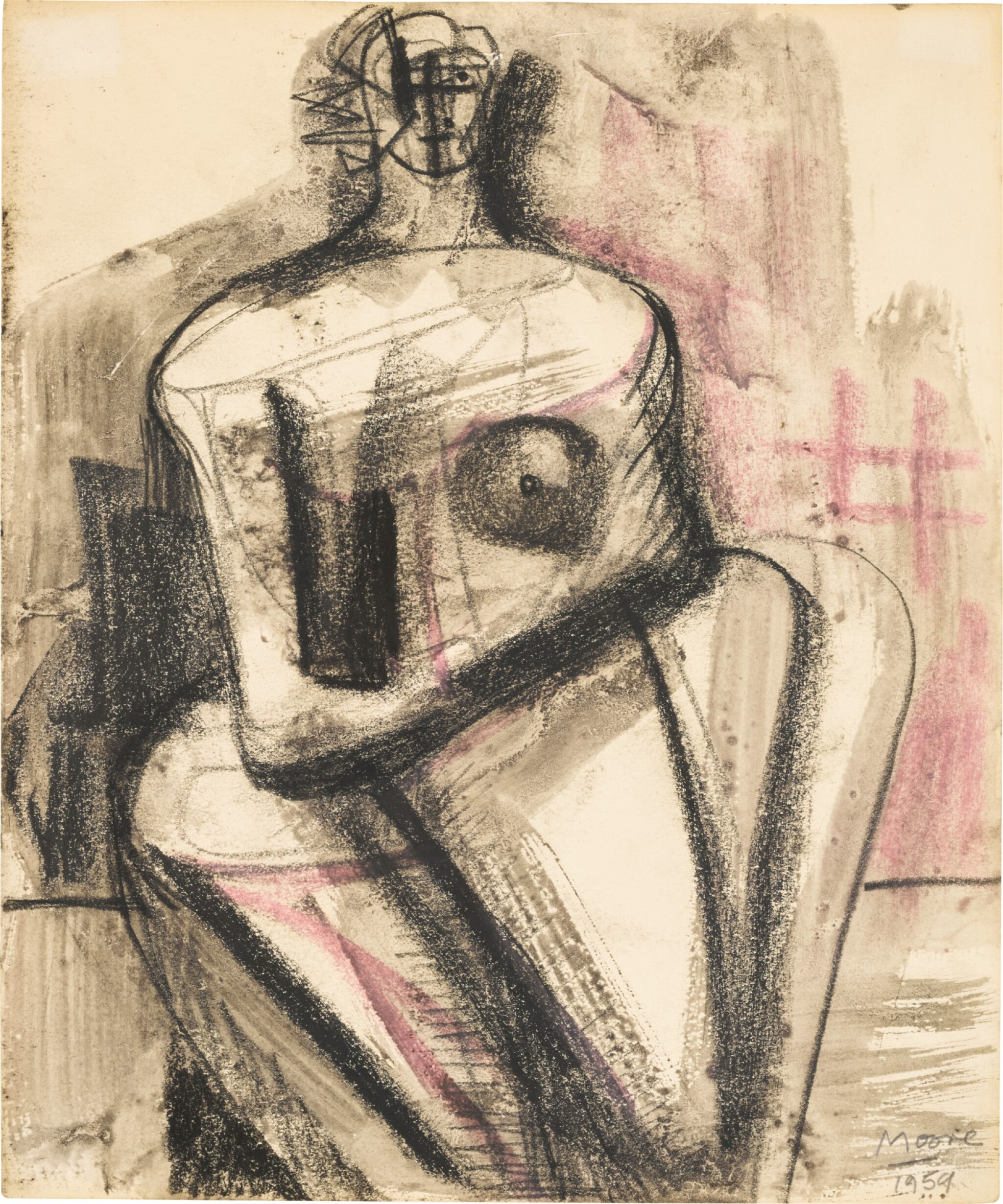 View full screen - View 1 of Lot 683. HENRY MOORE   SEATED WOMAN.