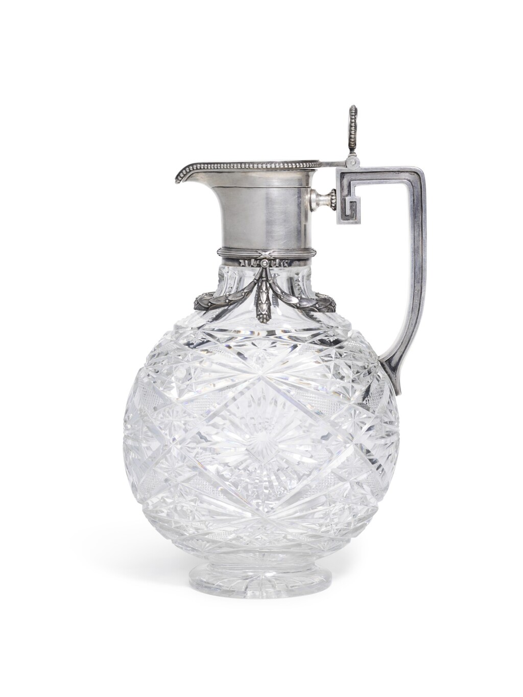 A FABERGÉ SILVER-MOUNTED CUT-GLASS DECANTER, MOSCOW, 1908-1917