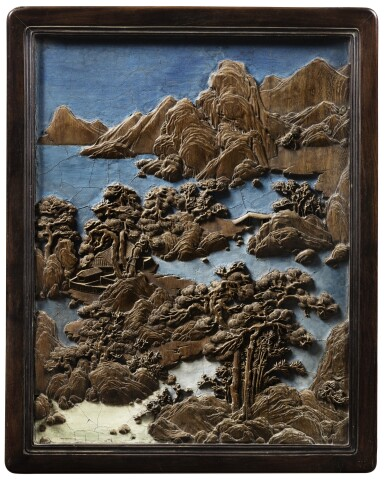 View 4. Thumbnail of Lot 225. A rare imperial bamboo-inlaid and zitan-framed 'landscape' screen Qing dynasty, Qianlong period   清乾隆 紫檀嵌竹山水圖、百壽紋雙面插屏.