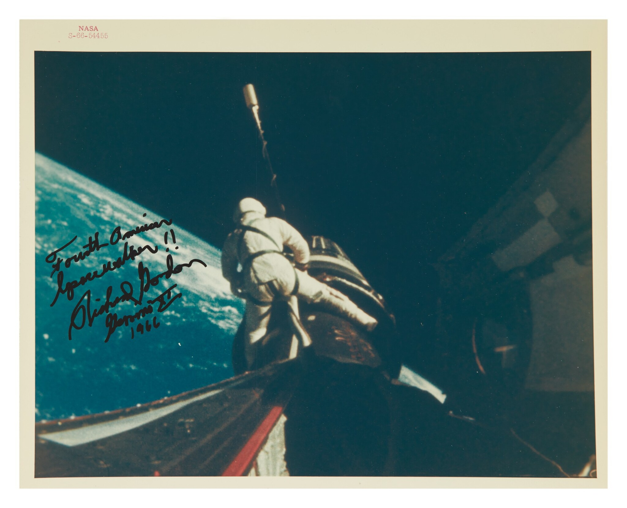 "View 1 of Lot 53. [GEMINI XI] SPACE COWBOY, INSCRIBED BY DICK GORDON. VINTAGE NASA ""RED NUMBER"" PHOTOGRAPH, 13 SEPTEMBER 1966.."