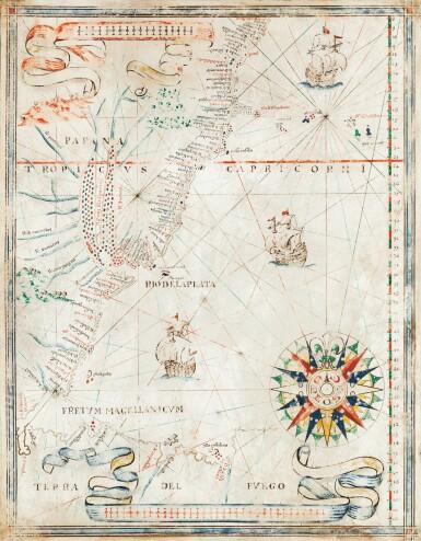 View 1. Thumbnail of Lot 98. PORTULAN -- Joan MARTINES [?]. Carte portulan de la côte atlantique de l'Amérique du Sud. Messine, ca 1570-1591..