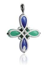 Tanzanite, chrysoprase and diamond pendant, Michele della Valle