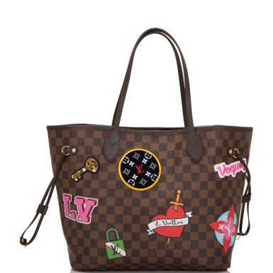 View 2. Thumbnail of Lot 86. Louis Vuitton Patches Neverfull MM of Damier Ebene Canvas with Polished Brass.