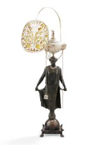 A SILVER AND BRONZE ITALIAN LIBRARY LAMP (LUCERNA), GASPARE NOBLER, ROME, 1842-1858   LAMPE DE BILBIOTHÈQUE EN BRONZE ET ARGENT PAR GASPARE NOBLER, ROME, 1842-1858