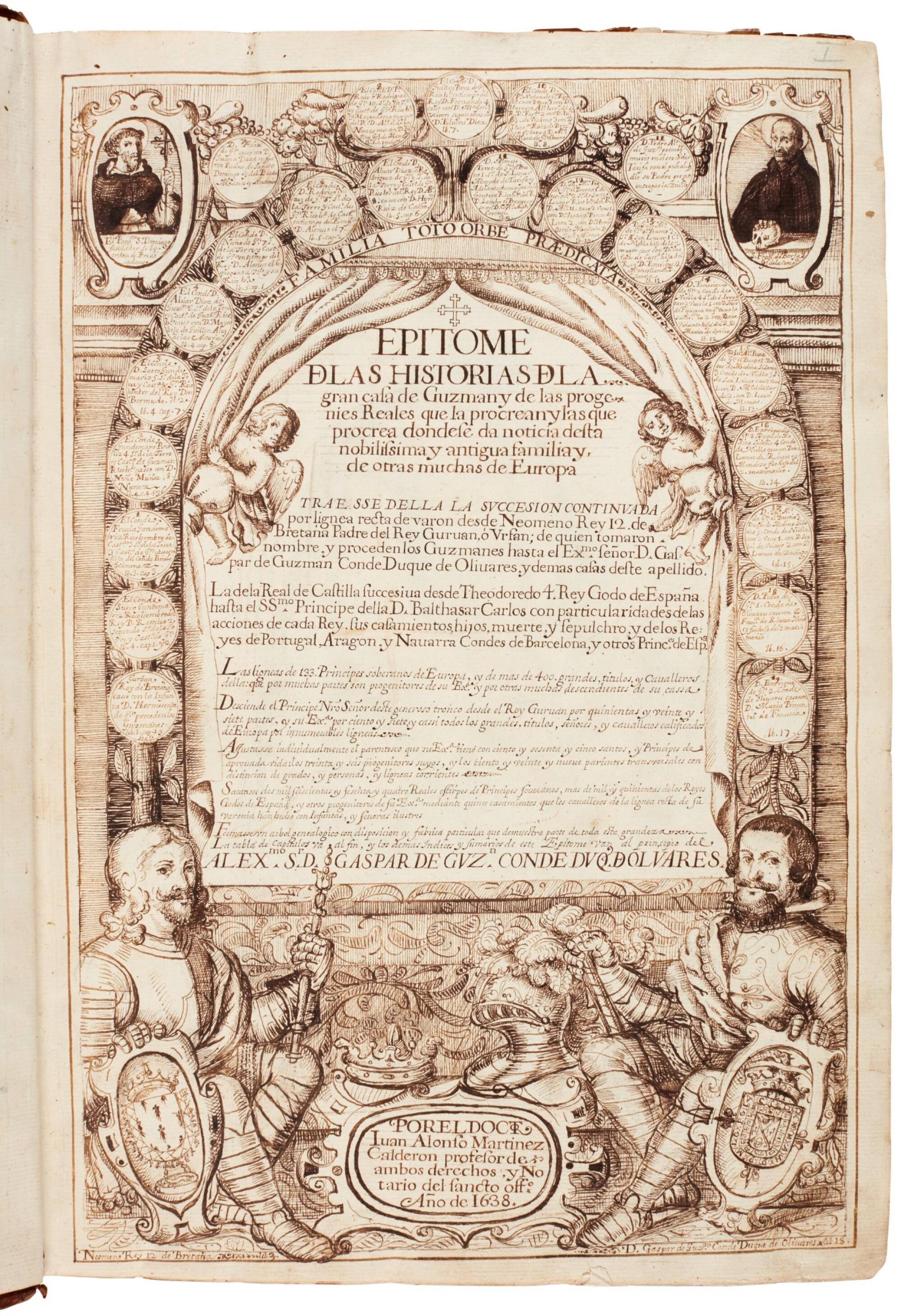 View full screen - View 1 of Lot 179. Martínez Calderón, Epitome de las historias de la gran casa de Guzman, manuscript dated 1638, 2 volumes.