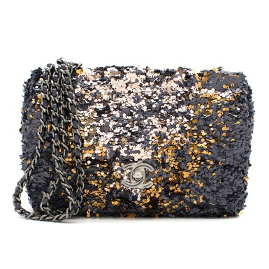 View 1. Thumbnail of Lot 76. Classic Flap Bag in Blue, Silver & Gold Sequin with gunmetal hardware, calfskin trim & nylon lining. Chanel. 2018..