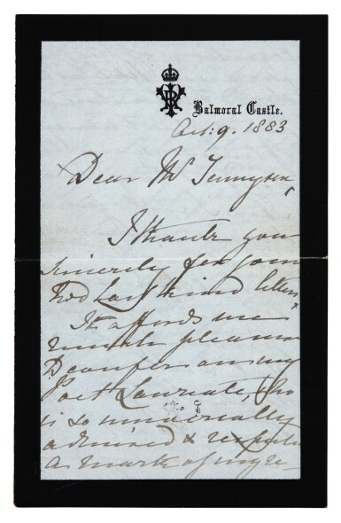 View 2. Thumbnail of Lot 126. QUEEN VICTORIA   autograph letter signed, to Tennyson, October 1883.