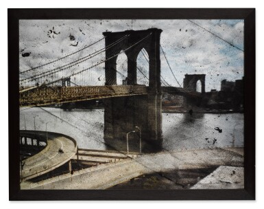 View 2. Thumbnail of Lot 20. 'Tent-Camera Image on Ground - Rooftop View of the Brooklyn Bridge'.
