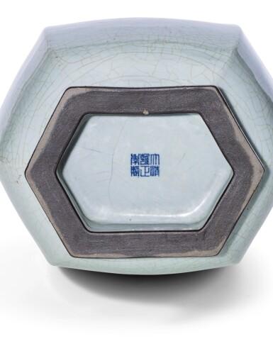 View 4. Thumbnail of Lot 58. An exceptional 'guan'-type archaistic hexagonal vase Seal mark and period of Yongzheng   清雍正 仿官窰天青釉六方貫耳尊《大清雍正年製》款.
